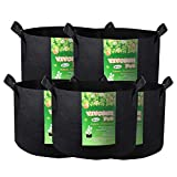 VIVOSUN 5-Pack 20 Gallon Plant Grow Bags, Premium Series Thichkened Non-Woven Aeration Fabric Pots w/Handles - Reinforced Weight Capacity & Extremely Durable (Black)