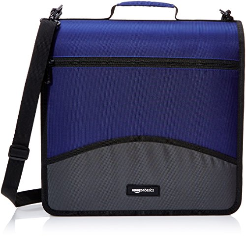 AmazonBasics 3-Ring Binder with Zipper - O-Ring, 3 Inch, Blue