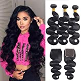 Body Wave Human Hair Bundles with Closure (12 14 16 +10) 8A Brazilian Virgin Hair 3 Bundles with Closure Natural Black Color