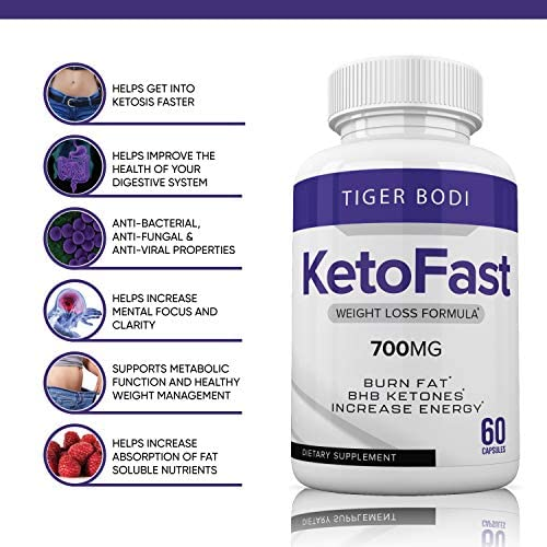 Keto Fast Diet Pills, Keto Fast Burn Weight Management Capsules 700 mg, Pure Keto Fast Supplement for Energy, Focus - BHB Ultra Boost Exogenous Ketones for Rapid Ketosis for Men Women 5