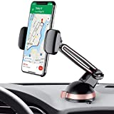 Merkury Innovations Car Phone Mount, Windshield & Dashboard Car Phone Holder, Sticky Gel Pad, for iPhone X/8/8Plus/7/7Plus/6s/6Plus/5S, Galaxy S5/S6/S7/S8, Google Nexus, LG & More (Black/Rose Gold)