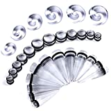 BodyJ4You 36PC Big Gauges Kit Ear Stretching 00G-20mm Clear Spiral Tapers Plugs Body Piercing Set