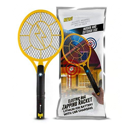 Beastron Bug Zapper Electric Fly Swatter 3000V USB Rechargeable, Mosquito Racquet Fly Killer Racket with LED Light & 3 Layer Safety Mesh (Large Size)