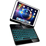 iPad Pro 10.5 Keyboard Case Fit iPad Pro 10.5 inch 2017, iPad Air 3rd Gen 10.5 inch 2019-360 Rotate Wireless 7 Colors Backlit Auto Wake Sleep Ultra-Thin iPad 10.5 Case with Keyboard-Black