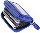 Leather Credit Card Holder Credit Card Wallet with Zipper Genuine Leather Credit Card Protector RFID Small Zip Around Wallet Blue