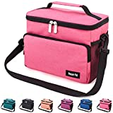 Venture Pal Leakproof Reusable Insulated Cooler Lunch Bag - Office Work School Picnic Hiking Beach Lunch Box Organizer with Adjustable Shoulder Strap for Women,Men and Kids-Pink