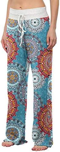 LONGYUAN Women's Comfy Pajama Pants Casual Yoga Pants Drawstring Palazzo Lounge Pants Wide Leg for All Seasons 2