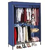 Jaketen Portable Clothes Closet Non-Woven Fabric Wardrobe with Double Rod Shelves Freestanding Storage Organizer Wardrobe (Blue.)