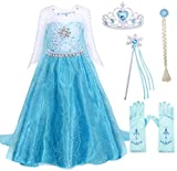 Cotrio Elsa Princess Dress Up Halloween Costume Outfits with Accessories Birthday Party Dresses Size 3T (100, 2-3Years, Wig, Gloves, Tiara/Crown, Wand/Scepter)