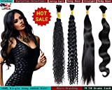 eCowboy High End Bulk Hair for Micro Braiding 100% Virgin REMY Human Hair Can be Dyed Bleached ABSORBS Color Well Body Wave Wavy great deal 1 bundles pack, 100g/bundle Natural Black 20 Inch