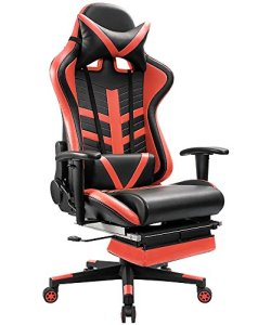 Homall Gaming Chair Ergonomic High-Back Racing Chair Premium PU Leather Bucket Seat,Computer Swivel Lumbar Support Executive Office Chair With Footrest (Red)