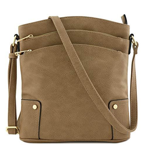 Triple Zip Pocket Large Crossbody Bag (Taupe)