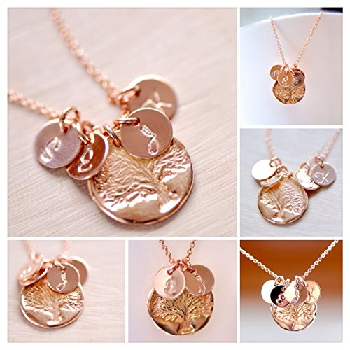 Well-liked Rose Gold Family Tree Charm Initial Necklace, Personalized  PP32