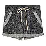 QueenBB Women's Yoga Elastic Waist Running Athletic Shorts with Pockets and Drawstring Activewear Lounge Shorts Black