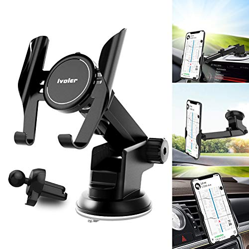 Car Phone Mount 3 in1 Universal iVoler Handsfree Holder Extendable Cradle for Air Vent Dashboard Windshield Strong Suction Cup Gel Compatible iPhone XR XS Max 7 8 Plus X 6s Samsung Galaxy Note S9 S8