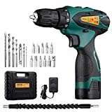 URCERI 14.4V Cordless Electric Drill Kit 2000 mAh Lithium-ion Battery 18+1 Keyless Clutch 2-Speed Driver with LED, Multiple Sockets, Screwdriver & Drill Bits, Magnetic Tip Holder & Flexible Shaft, Yel
