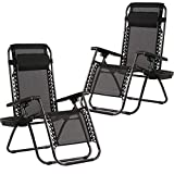 FDW Zero Gravity Chairs Case of (2) Black Lounge Patio Chairs Outdoor Yard Beach with Cup Holders (Black)