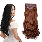 REECHO 16' Curly Wavy 4 Pieces Full Head Thick Clip in on Hair Extensions Linen