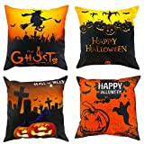 Halloween Pillow Covers, 18x18 Inch Set of 4 Cotton Linen Square Throw Pillow Covers Decorative Square Cushion Cover