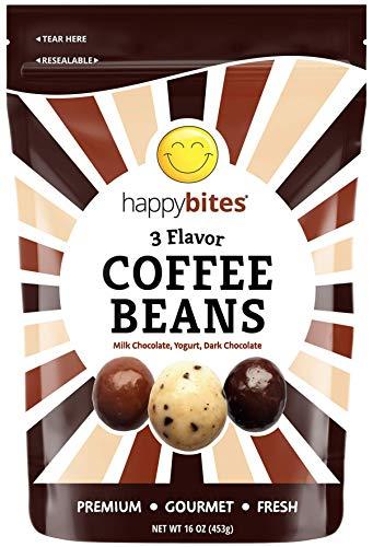 Happy Bites 3 Flavor Coffee Beans - Milk Chocolate, Dark Chocolate & Yogurt Covered - Resealable Pouch Bag (1 Pound)