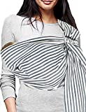 Vlokup Baby Sling Ring Sling Carrier Wrap | Extra Soft Lightweight Cotton Baby Slings for Infant, Toddler, Newborn and Kids | Great Gift, Lightly Padded Adjustable Nursing Cover Black Stripe