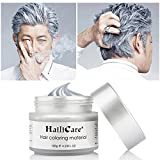 HailiCare Silver Gray Temporary Hair Dye Wax 4.23 oz, Silver Ash Hair Wax, Natural Matte Hairstyle for Party, Cosplay (Glass Jar)