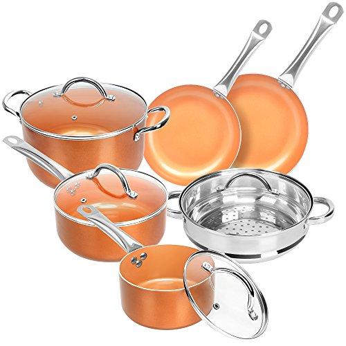 SHINEURI Nonstick Ceramic Copper 10 Pieces Cookware Set, Aluminum Pots...