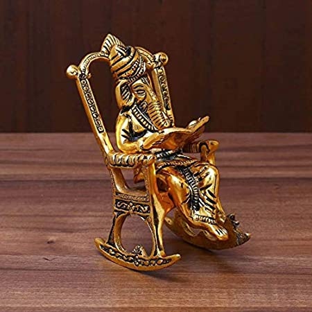 RCI Handicrafts Brass 3D Moving Lord Ganesha Statue Sitting on A Chair and Reading Ramayan