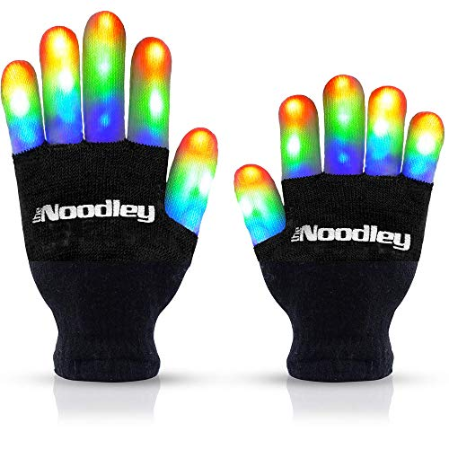 The Noodley Flashing LED Finger Light Gloves with Extra Batteries – Kids and Teen Sized Ages 8-12 (Medium, Black)