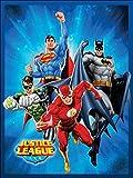 Justice League (Superman, Batman, the Flash, and Green Lantern) Sunburst Blue Luxury Plush Blanket 60″x80″ Twin Size