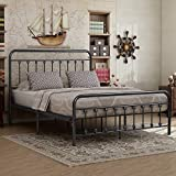 Elegant Home Products Victorian Vintage Style Platform Metal Bed Frame Foundation Headboard Footboard Heavy Duty Steel Slabs Queen Full Twin Silver/Gray Finish (Queen)