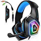 Xbox One Gaming Headset for PS4,PC,LED Light On Ear Headphone with Mic for Mac,Laptop,Nintendo Switch Games (Blue)