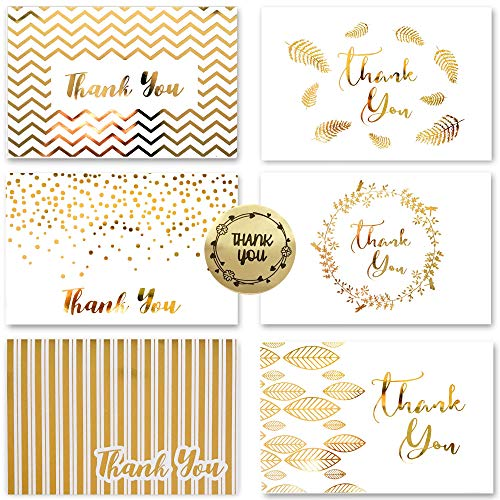 36 Gold Foil Thank You Card | 6 Assorted Designs Blank Inside | 4 x 6 inches, Bulk Note Cards with Envelopes and Stickers | Perfect for Wedding, Bridal Shower, Baby Shower, and Business