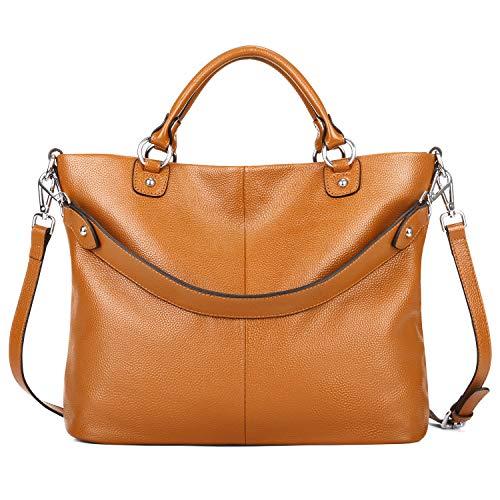 Kattee Women's Soft Genuine Leather 3-Way Satchel Tote Handbag Orange