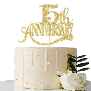 Gold Glitter 15th Anniversary Cake Topper – for 15th Wedding Anniversary / 15th Anniversary Party / 15th Birthday Party Decorations 51mC2O3dhxL