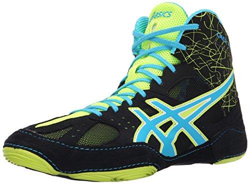 ASICS Men's Cael V6.0 Wrestling Shoe, Black/Atomic Blue/Flash Yellow, 10 M US