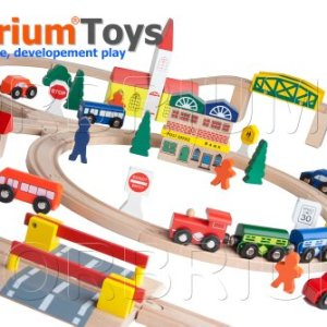 100-Piece Orbrium Toys Triple-Loop Wooden Train Set Fits Thomas Brio Chuggington 51mCw8674XL