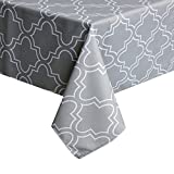 ColorBird Elegant Moroccan Tablecloth Waterproof Spillproof Polyester Fabric Table Cover for Kitchen Dinning Tabletop Decoration (Rectangle/Oblong, 60 x 102 Inch, Grey)