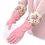 Winter Water Stop Fleece Warmer Floral Flower Latex Rubber Gloves Dishwashing Gloves Kitchen Gloves Pink