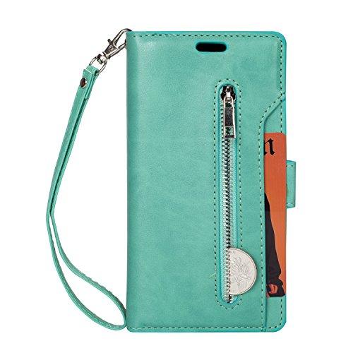LG K20 Plus Case, LG K20 V/LG K20 / LG K10 2017 / LG LV5 Case, Folice Zipper Wallet Case [Magnetic Closure]& 9 Card Slots, PU Leather Kickstand Wallet Cover Durable Flip Case (Mint Green)