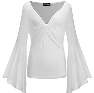 Fancyqube Women's Sexy V-Neck Twist Knot Front Long Bell Sleeve Blouse Tops White S
