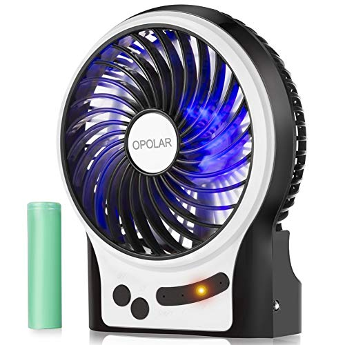 OPOLAR Battery Operated USB Rechargeable Fan, Portable Personal Handheld Fan, 3-13 Running Time, 3 Speeds, Enhanced Wind with Internal and Side Light, Quiet Desk Fan for Boating,Travel,Camping,-4 inch
