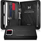 NERO MANETTI- Zippered Leather Padfolio/Portfolio Pad Holder-Business PU Vegan Leather Notepad Folder for Resumes, Interviews, iPad/Tablet, Phone, Legal Pad Notebook Executive Binder for Women, Men