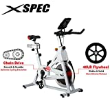 Xspec Pro Stationary Upright Exercise Chain Drive Smart Cycling Bike, 40LB Flywheel Bicycle, iBiking+, Heart Pulse Sensors, Adjustable Friction Resistance, 3-Piece Crank, 6-Function Monitor