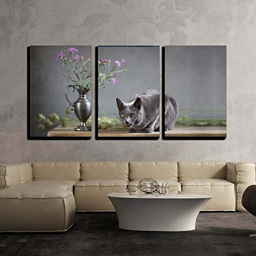 "wall26 - 3 Piece Canvas Wall Art - Still-Life with Flowers and Russian Blue Cat - Modern Home Decor Stretched and Framed Ready to Hang - 16""x24""x3 Panels"