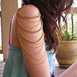Ikevan Hot Selling Golden Arm Slave Harness Tassels Chain Upper Cuff Armband Armlet Bracelet Bangle