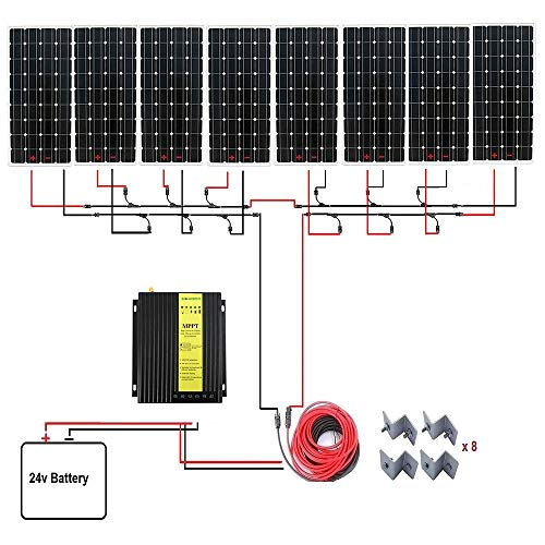 ECO-WORTHY 1300W Monocrystalline 24V Off Grid Solar Panel Kit: 8pcs 160W Mono Solar Panels+40A MPPT Controller+Solar Cable+MC4 Branch Connectors Pair+Mounting Z Brackets