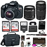 Canon EOS Rebel T6 Digital Camera: 18 Megapixel 1080p HD Video DSLR Bundle with 18-55mm &75-300mm Lenses 32GB (2 x 16GBSD Card) Flash Filter Kit & Bag - Professional Vlogging Sports & Action Cameras