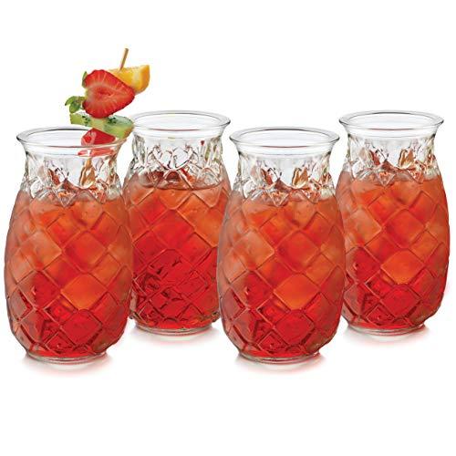 Libbey Pineapple Tiki Glasses, Set of 4