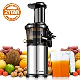 Aobosi Slow Masticating Juicer 83mm(3.15inch) Wide Chute Juice Extractor Cold Press Juicer Machine with Quiet Motor/Reverse Function/Juice Jug and Clean Brush for High Nutrient Fruit & Vegetable Juice (Bright Silver)